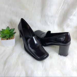 Coach Leather Patent Elsa Heeled Loafers